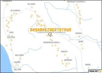map of Aḩshām-e Zā'er Teymūr