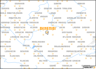 map of Akmeniai