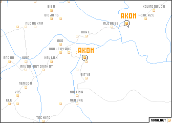 map of Akom