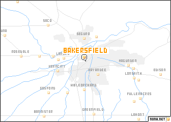 Bakersfield (United States - USA) map - nona.net