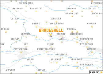 map of Bawdeswell