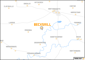 map of Becks Mill