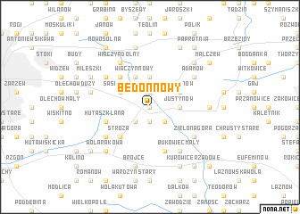 map of Bedoń Nowy
