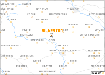 map of Bildeston