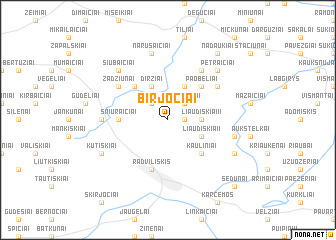 map of Birjočiai
