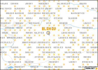 map of Bláhov