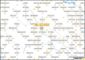 map of Blažkov