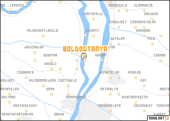 map of Boldogtanya