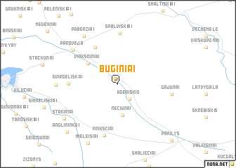 map of Būginiai