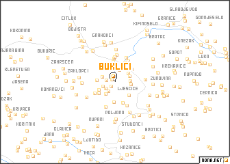 map of Buklići