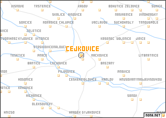 map of Čejkovice