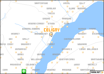 map of Céligny