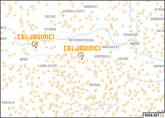 map of Čeljadinići