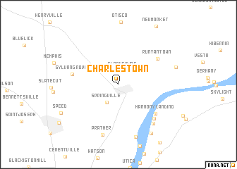 Charlestown (United States - USA) map - nona.net on state kentucky on us map, indiana indian reservations map, 50 united states map, indiana on world map, indiana county map, indiana on us map, indiana region of the united states, indiana map with rivers, indiana cities map,