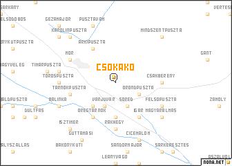 map of Csókakő