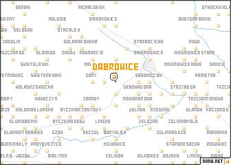 map of Dąbrowice
