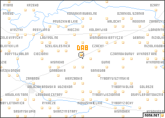 map of Dąb