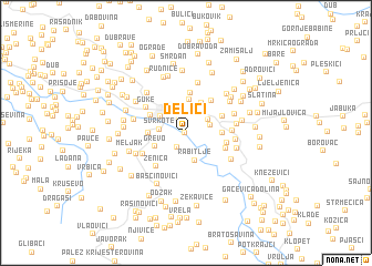map of Delići