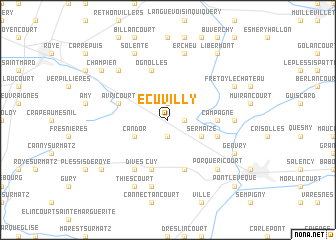 map of Écuvilly