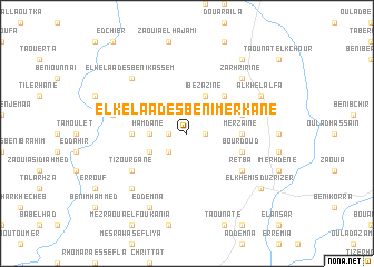 map of El Kelaa des Beni Merkane
