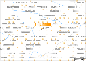 map of Emilianów