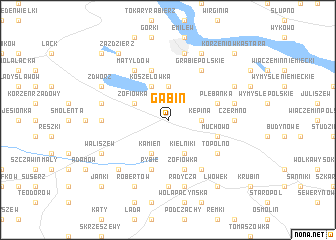 map of Gąbin