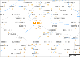 map of Głoginin
