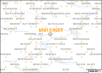 map of Grötzingen