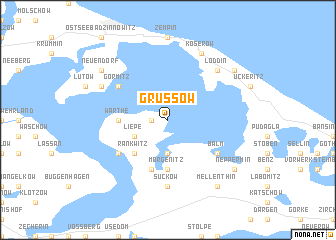 map of Grüssow