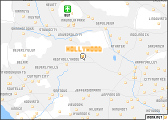 Hollywood (United States - USA) map - nona.net