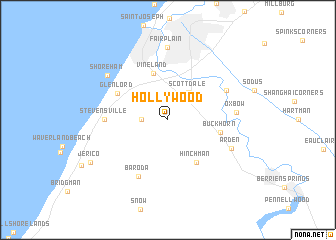 Hollywood United States USA map nonanet