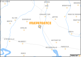 Independence (United States - USA) map - nona.net on independence ohio map, tocqueville 1831 u s states map, independence ca, usa map, independence us flag, city of independence ia map, fort independence location on map,