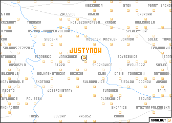map of Justynów