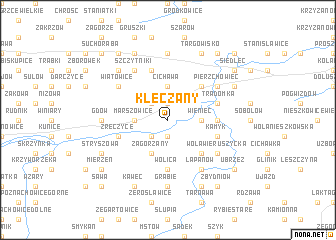 map of Klęczany