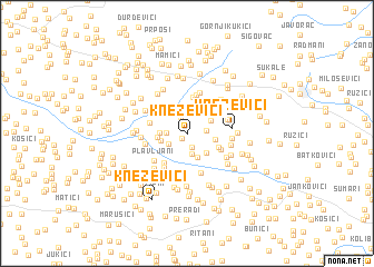 map of Kneževići