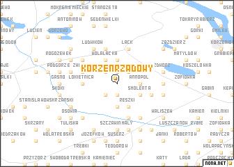 map of Korzeń Rządowy