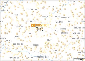 map of Kostići
