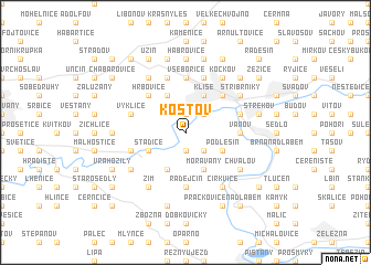 map of Koštov