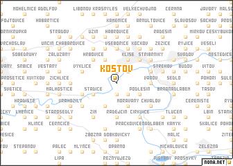 map of Koštov