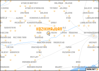 map of Koziki Majdan