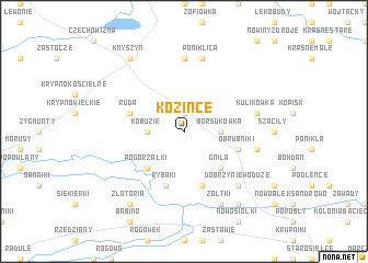 map of Kozińce