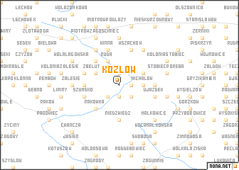map of Kozłów