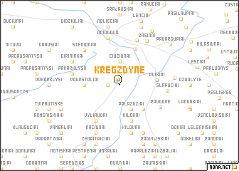 map of Kregždyne