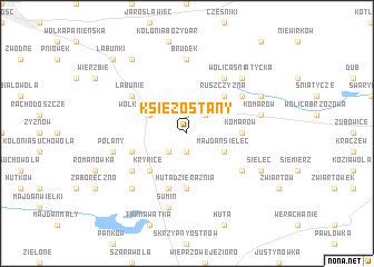 map of Księżostany