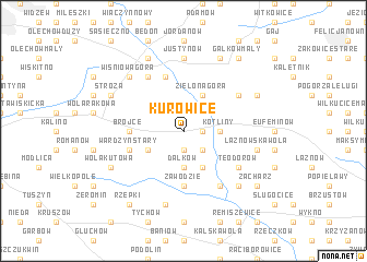 map of Kurowice