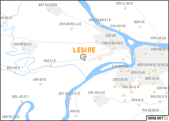 ledine beograd mapa Ledine (Serbia and Montenegro) map   nona.net ledine beograd mapa