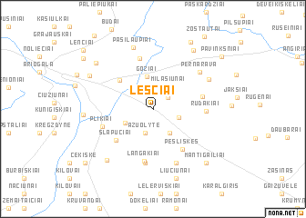map of Leščiai