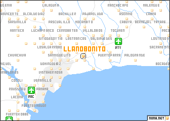 map of Llano Bonito