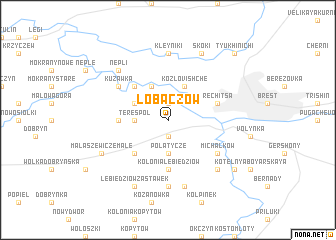 map of Łobaczów