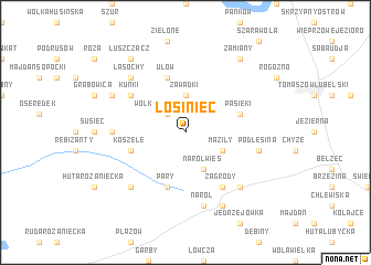 map of Łosiniec